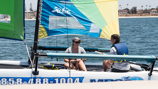 Hobie Getaway catamaran rental port view